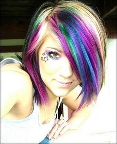 dyed hair colors, blue and blonde hair, haircolor, rainbow colored hair, beauti, color hairstyles, hair stylescolor, dyed hairstyles, blonde and colorful hair