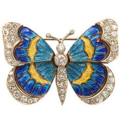 Gold, Enamel, and Diamond Butterfly Pin