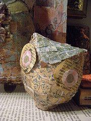 Papier mache (I think) owl. #craft