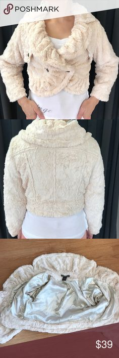 Faux fur jacket Cropped faux fur jacket, 3/4 length sleeves, NWOT, never worn. Super cute to dress up or wear casual. by Deep Los Angeles Jackets & Coats