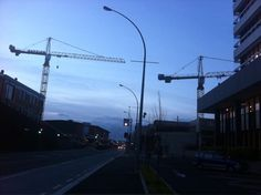 Cranes at dusk in the CBD