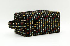 Colorful Dots & Stripes Quilted Cosmetic Bag with Handle Boxy