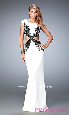 Mock Two Piece Floor Length Cap Sleeve Prom Dress by La Femme at PromGirl.com