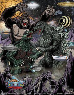 King Kong y Godzilla. Classic Monster Movies, Giant Monster Movies, Classic Monsters, King Kong Vs Godzilla, Godzilla Vs, Original Godzilla, Godzilla Tattoo, Godzilla Wallpaper, Japanese Monster