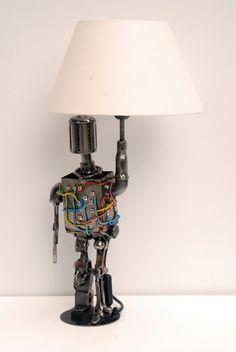 Metal sculpture robot and lamp BIONIC Modern Art Sculpture, Science Fiction Art, Figurative Art, Modern Contemporary, Robot, Sculptures, Table Lamp, Spaceship, Home Decor
