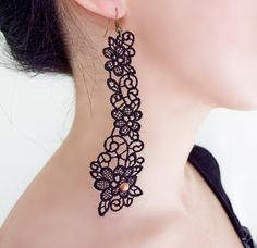 lace earrings  beaded black earrings  long goth by LaceFancy, $7.50