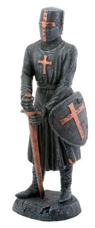 Templar Knight Figurine with Shield and Sword 6.5H