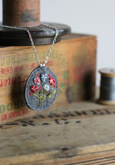 Pendant Felt Necklace / Hand Embroidered Flower / Grey Blue and Red