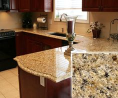 Venetian Gold Cheap Granite Countertop-   belongs to class B, but it is on a relatively lower $ range. Honey-colored or golden with flecks and streaks of light brown and amber. Suitable for almost every possible color scheme. Do-it-yourselfers should know that this beautiful granite countertop slab can be bought for around $40 per square foot, but if you want professional installation, then the price will be increased to about $50.