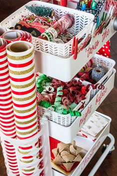 Inspiration: Brilliant Gift Wrapping Station on Wheels wrapping paper organizer gift wrapping station Diy Wrapping Paper Storage, Wrapping Paper Station, Gift Wrap Storage, Wrapping Papers, Wrapping Gifts, Wrapping Ideas, Christmas Gift Wrapping, Diy Christmas Gifts, Christmas Storage
