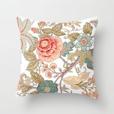 Vintage flowers pattern Throw Pillow by Lemuana - $20.00 society6.com