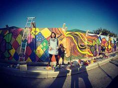 Participacion en el Mural homeje a Violeta Parra. Plaza San  Andrés, comuna de Pudahuel- Chile.