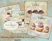 Shabby Chic cafés y Cupcakes posavasos - 4 x 4 pulgadas - set de 4 tarjetas - hoja de Collage Digital - etiquetas Digital - Digital imprimible - Collage