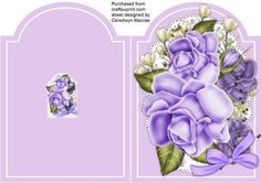 Print Cut and Fold Beautiful lilac rose  on Craftsuprint designed by Ceredwyn Macrae - A lovely Shaped card to make and give in Lilac, print cut and fold ,lovely lilac roses on lace a lovely quick card , - Now available for download!