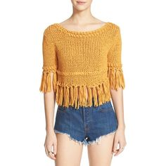 Free People 'On the Fringe' Crop Cotton Sweater ($108) ❤ liked on Polyvore featuring tops, sweaters, yellow mustard, open-knit sweater, ruffle crop top, yellow crop top, sheer sweater and free people sweaters
