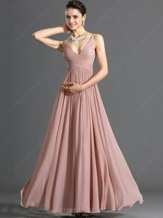 ebe38539 Pretty A-Line Floor-Length Zipper Up Spaghetti Neckline Prom/Event Dresses  This one is nice, but the neckline is a bit low. Gold, champagne, rose pink,  ...