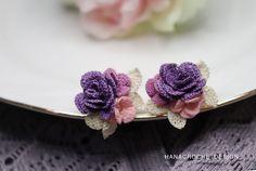 rose earrings jewelry making pattern - DIY crochet purple rose earrings with flowers tutorial - crochet pattern and how to - digital file Diy Crochet Rose, Crochet Flowers, Diy Jewelry To Sell, Jewelry Gifts, Jewelry Making, Crochet Diagram, Crochet Patterns, Bridesmaid Accessories, Polymer Clay Flowers