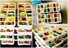 Ice cube tray lunch. I would use this for a toddler birthday; with themed ice cube trays. LOVE finger foods for kids parties!