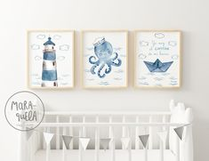Sailor Octopus Set - Little sailor in blue shades. Marine style decor, little captain, boat, ocean prints. Baby Boy Room Decor, Baby Boy Rooms, Nursery Decor, Nautical Wall Decor, Nautical Baby, Sailor Room, Ocean Nursery, Kids Room Wall Art, Rainbow Art