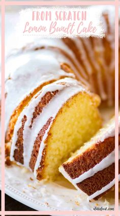 This Lemon Bundt Cake is made from scratch with fresh lemon zest and lemon juice. Topped with a lemon icing, this fluffy lemon cake is one of my favorite bundt cakes from alattefood.com. No cake mix, pudding mix, etc.--it's just pure lemon Bundt Cake! Spring Desserts, Lemon Desserts, Lemon Recipes, Easy Desserts, Easy Lemon Bundt Cake Recipe, Homemade Lemon Cake, Light Lemon Cake Recipe, Easy Lemon Cake, Lemon Icing