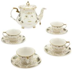 Forever treasure tea times with our exquisite nine piece set, a replica from live action film, Beauty and the Beast. It contains a tea pot, four saucers and four cups including Chip, complete with his signature 'chip.'