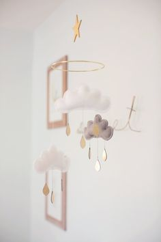 Mobile bébé Milan nuage blancgrisblanc gouttes