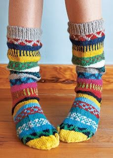 Socks can be fun. / An entry from le petit trianon. Funky Socks, Colorful Socks, Knitting Socks, Hand Knitting, Knit Socks, Finger Knitting, Vetements Shoes, Cozy Socks, Sock Shoes