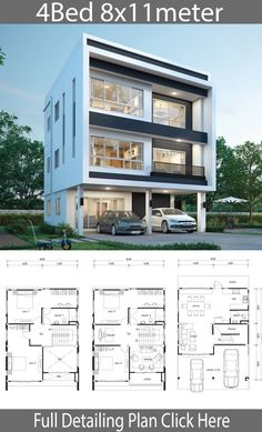 landscape architecture - House design plan with 4 bedrooms Home Ideas Townhouse Designs, Duplex House Design, Duplex House Plans, Bedroom House Plans, Small House Design, Small House Plans, Modern House Design, House Floor Plans, Model House Plan