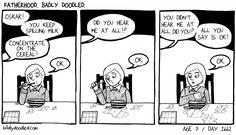 Image: Day 2662. #breakfast #ignoring #parenting #kids #children #family #comics #illustration #drawing #art #humour #humor