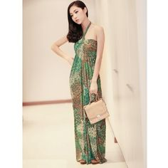 Green Cotton Halter Pleating Long One Size Dress@A8095 via Polyvore