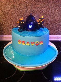 Godzilla Cake - white cake on bottom, chocolate cake on top - vanilla buttercream