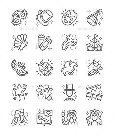 Buy Carnival Line Icons by PalauDesign on GraphicRiver. UI Pixel Perfect Well-crafted Vector Thin Line Icons Grid for Web Graphics and Apps with Editable Str. Bullet Journal Icons, February Bullet Journal, All Icon, Icon Set, Jester Tattoo, Doctor Drawing, Create Icon, Plague Mask, Simple Icon
