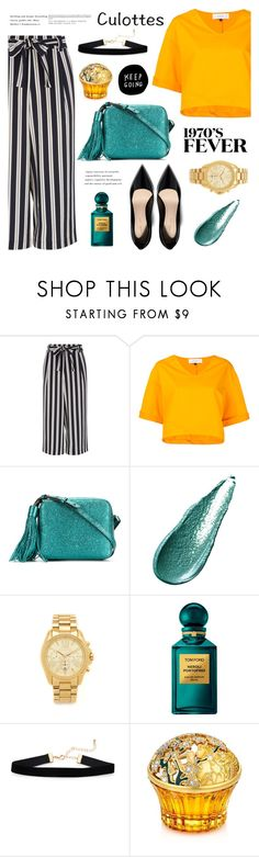 """""""Rayas"""" by nadialesa ❤ liked on Polyvore featuring Le Ciel Bleu, Anya Hindmarch, Giorgio Armani, Michael Kors, Tom Ford, House of Sillage, stripes and culottes"""