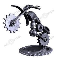 HandMade Motorbike 5  Scrap Metal Sculpture by artfromsteel: