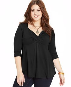 American Rag Plus Size Three-Quarter-Sleeve Twist-Front Top
