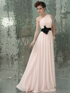 Robe de soirée élégante A-ligne rose en chiffon à une épaule - Milanoo.com