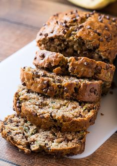 This is seriously the BEST One Bowl Chocolate Chip Zucchini Bread! So moist and tender, everyone LOVES it! Chocolate Chip Zucchini Bread, Zucchini Bread Recipes, Quick Bread Recipes, Gourmet Recipes, Sweet Recipes, Dessert Recipes, Cooking Recipes, Desserts, Banana Bread