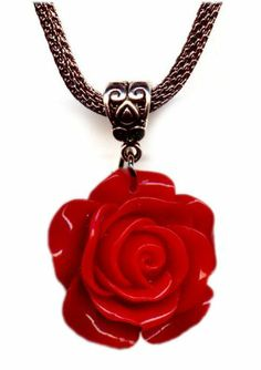 Red Rose Flower Antiqued Silver Gunmetal Mesh Choker Necklace 18-20 Inches Vintage Victorian Style Artist Jewelry: Jewelry