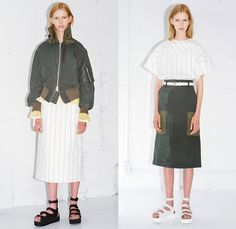 Sacai Luck 2015 Resort Womens Lookbook Presentation in Paris France - 2015 Cruise Pre Spring Fashion Pre Collection Chitose Abe Tokyo - Mesh 3d Cutout Perforated Laser Cut Multi-Panel Shorts Blouse Zipper Sandals Banded Strap Ruffles Balloon Sleeves Ribbed Knit Lace Zebra Stripes Bomber Jacket Pinstripe Outerwear Boxy Shirt Open High Slit Motorcycle Biker Rider Frock Midi Skirt Accordion Pleats Peplum Shirtdress Oversized Coat Shorts Loungewear Jogging Sweatpants - walk out in the right look