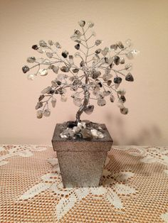 Variegated Quartz Gemstone Wire Bonsai Tree of Life Sculpture, Feng Shui Wire Tree, Tree of Life in Silver Rough Stone Sprayed Wood Pot