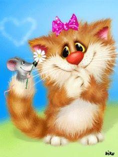 Ek hou daarvan as jy glimlag Kitten Cartoon, Cartoon Pics, Cute Cartoon, Baby Animals, Cute Animals, Image Chat, Animation, Cute Animal Drawings, Tier Fotos
