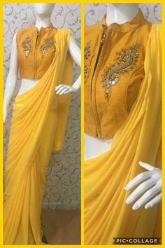 Pure Georgette sarees with readymade blouse Indian Attire, Indian Outfits, Indian Wear, Pure Georgette Sarees, Sari Design, Sleeves Designs For Dresses, Elegant Fashion Wear, Blouse Models, Stylish Sarees