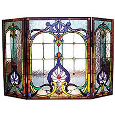 online shopping for Chloe Lighting Folding Victorian 44 Wide Tiffany-Glass Fireplace Screen from top store. See new offer for Chloe Lighting Folding Victorian 44 Wide Tiffany-Glass Fireplace Screen Stained Glass Designs, Stained Glass Projects, Stained Glass Patterns, Stained Glass Art, Stained Glass Windows, Mosaic Glass, Victorian Fireplace Screens, Stained Glass Fireplace Screen, Fireplace Glass