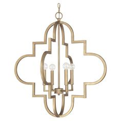 Cast a warm glow in your entryway or dining room with this eye-catching pendant, showcasing an open quatrefoil silhouette and brushed gold finish.  ...