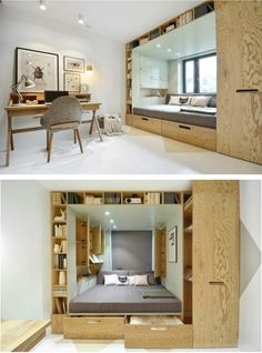 Compact Living — By Russian design firm - Prefab Homes 3 Bedroom Apartment, Home Bedroom, Bedroom Ideas, Teen Bedroom, Teenage Bedrooms, Bed Ideas, Bedroom Decor, Tiny Spaces, Small Apartments