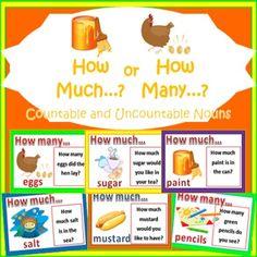Countable and Uncountable Nouns - Sorting Card Games - Nyla's Crafty Teaching - TeachersPayTeachers.com