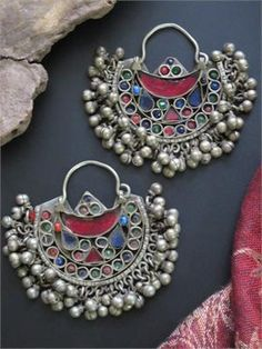 Big Vintage Kuchi Tribal Jewelry Crescent Earrings
