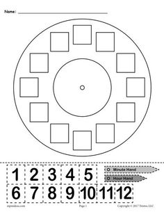 "Printable ""Build a Clock"" Telling Time Activity! This free telling time worksheet is great for kindergartners, graders, and graders. The printable worksheet includes a clock face, an hour and minute hand, and hours that can be cut out. Clock Worksheets, Free Kindergarten Worksheets, 1st Grade Worksheets, Free Printable Worksheets, Free Preschool, 1st Grade Math, Kindergarten Math, Matching Worksheets, Money Worksheets"