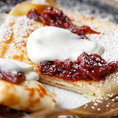 Naleśniki z serem i powidłami śliwkowymi | Blog | Kwestia Smaku Camembert Cheese, Healthy Recipes, Healthy Food, French Toast, Food And Drink, Sweets, Eat, Cooking, Breakfast