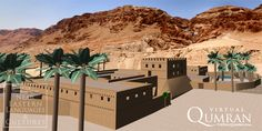 A virtual view of the northeast corner of the reconstructed Khirbet Qumran fortress, facing southwest towards the caves.br /